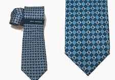 "Mens Silk Necktie Blue Gray Foil Grid Geometric JOHN ASHFORD 3 1/4"" $55 NEW T2"