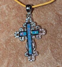 fire opal Cz necklace pendant gemstone silver jewelry Medieval Renaissance Cross
