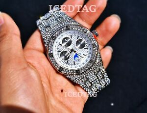 MENS HIP HOP FULL ICED WHITE GOLD PT CHRONO OCTAGON TRENDY CLUBBING  BLING WATCH