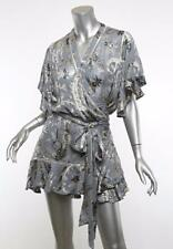 ZIMMERMANN Womens Blue Silk Paisley Ruffle Short-Sleeve Wrap Dress Blouse 2