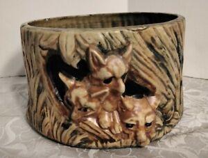 Vintage Weller art pottery Woodcraft pattern foxes jardinière planter