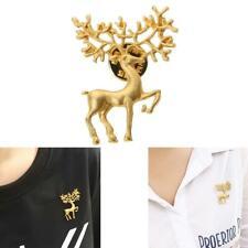 Vintage Scrub Matt Gold Elk Brooch Pin Fashionable Retro Art Collar Pin (Gold)
