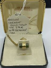 Anson 12k Gold Filled And Jade Tie Tack