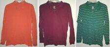3 Ct. Long Sleeve Collar Shirts Orange Burgundy Striped Green White Boys Size 18