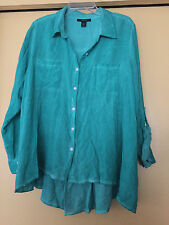 NEW Style & Co. Green Dyed Blouse, Long Sleeved, Button Down, Size 0X Plus, NWT