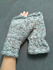 100% lambswool cableknit wrist warmers fingerless gloves boucle Large BRAND NEW