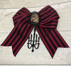 Black Red Stripe Hair Bow Slide Clip Victorian Girl Cameo Chandelier Charm Goth