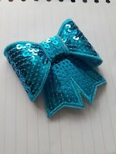 Turquoise  3D sequin bow hotfix iron on Motif patch Lace xmas costume Applique