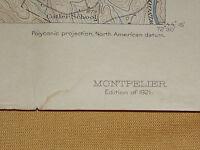 VINTAGE OLD 1921 MONTPELIER  VT   VERMONT TOPOGRAPHIC TOPO MAP