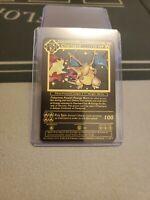 Custom Metal Gold Base Charizard 4/102 Pokemon Card 1999 Wizards Shadowless