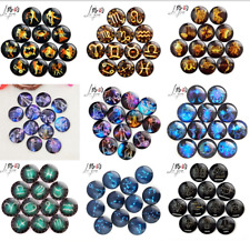 20X Round Glass Multicolor 12 constellations cabochons Gem Setting Accessorie