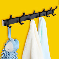 5 Hooks Coat Robe Hat Clothes Wall Mount Hook Hanger Towel Holder Rack Rail