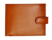 Mens RFID Real Leather Wallet With Zip Pocket Coin Pouch & ID Window 895 Tan