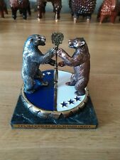 Bronze statuette Ural Bear on Marble Base Signed russian figurine