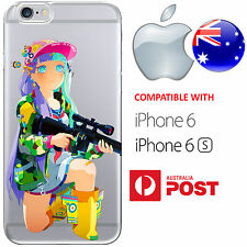 iPhone 6 6S Case Cover Silicone Rainbow Shooter Gun Bad-ass Chick Cute Anime AUS