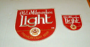 Vintage OLD MILWAUKEE LIGHT Beer Brewery Embroidered JACKET Patch Set of 2 NOS