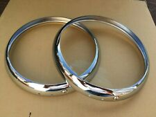 LAND ROVER SERIES 1,2,3 NEW CHROME HEADLAMP RIMS X2 (FREE UK POST)