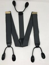Gray Patterned Woven Suspenders Braces Brass Buckles Leather Trim USA