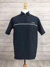 Ellesse Men's Navy Blue Short Sleeve Zip Neck Collared Top T-Shirt Size M