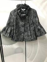 Betty Jackson Black Silver Metallic Patterned Coat Peplum Sleeve Jacket Size 8