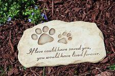 Pet Paw Print Devotion Garden Stone Memorial Grave Marker Yard Headstone Dog Cat