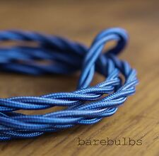 Twisted coloured fabric lighting cable flex: Blue - vintage - sold per metre