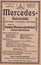 1911 Mercedes-Benz Automobile Stuttgart ca. 15x23 cm original Printwerbung