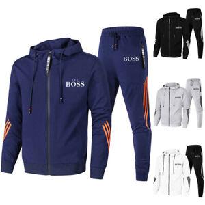 Boss Trainingsanzug Herren Hoodie + Trainingshose Freizeit Jogging Sport Anzug