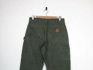 "Carhartt DOUBLE KNEE Green Denim Straight Workwear Carpenters Trousers | 32""x34"""