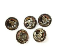 Antique Victorian Buttons (x19) Riveted Cut Steel MOP Picture Ship Steampunk Set
