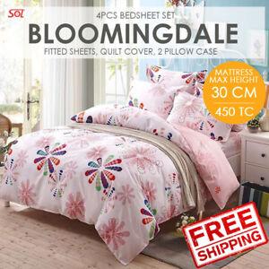 SOL HOME 4PCS Bedsheet Set - Queen -Bloomingdale- 1FS+1QC+2PC