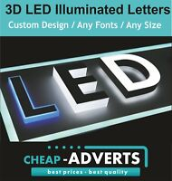 3D LED Letters 30cm high. Illuminated Exterior Signage. Free Design