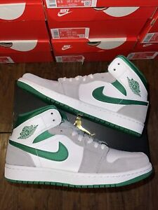 Jordan 1 Mid Grey Suede Green Size 9 Mens Brand New 100% Authentic!!