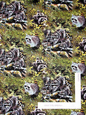 Raccoon Masked Bandits Animal Nature Cotton Fabric Springs Wild Wings - Yard