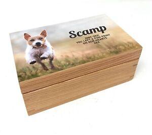 Personalised Small Photo Oak Pet Memorial Ashes Urn Memory Cremation Box Casket