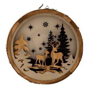 LED Weihnachtsdeko Winterwald Reh zum Hängen Holz Batteriebetrieben Fensterdeko