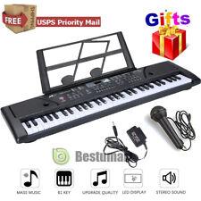 61 Key Music Electronic Keyboard Digital Piano Organ W/ Mic &Music Stand+Adapter