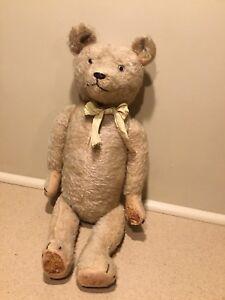 "Antique 23"" Mohair Jointed Teddy Bear Stuffed Excelsior German Steiff ? Vintage"