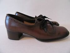True VTG Ladies Shoes 7B Glossy Brown Patent Leather Oxfords Made in Japan RARE