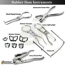 Dental Rubber Dam Instruments Kit Anisworth Plier Ivory Brinker Clamps Frame 4