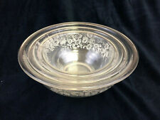 Set of 3 Pyrex Clear Colonial Mist White Lace Nesting Bowls 322 323 325 Vintage