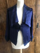 A Vintage Edwardian Victorian Blue Silk Soutache Jacket Small S