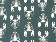 Grey/Slate LOBSTER FABRIC vintage novelty nautical summer retro kitsch fish 1m