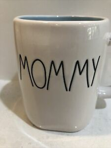 """RAE DUNN """"MOMMY"""" MUG WITH BACK LETTERING AND PASTLE BLUE INNER"""