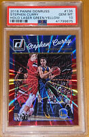 💎2016 Stephen Curry DONRUSS HOLO LASER GREEN YELLOW SPOKES #135 /99 PSA 10 BGS