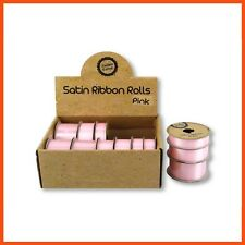 36 X Satin Ribbon Rolls Light Pink Gift Scrapbook Sewing Craft Tie Hair Bow