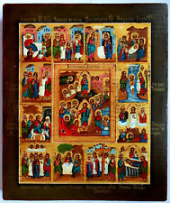 """RUSSIAN ORTHODOX ICON """" 12 GREAT FEASTS """", handpainted, tempera"""