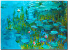CLAUDE MONET ~ Water lilies sea roses cyan~ *FRAMED* CANVAS ART 24x16""