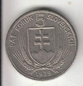 slovakia nazi 5 korun 1939 shield           21P         BY COINMOUNTAIN
