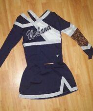 Navy Blue, White, and Leopard High School Cheerleading Uniform (as is)